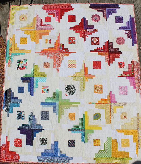 Converging Corners Rainbow Quilt waterpenny quilts and little sewn things