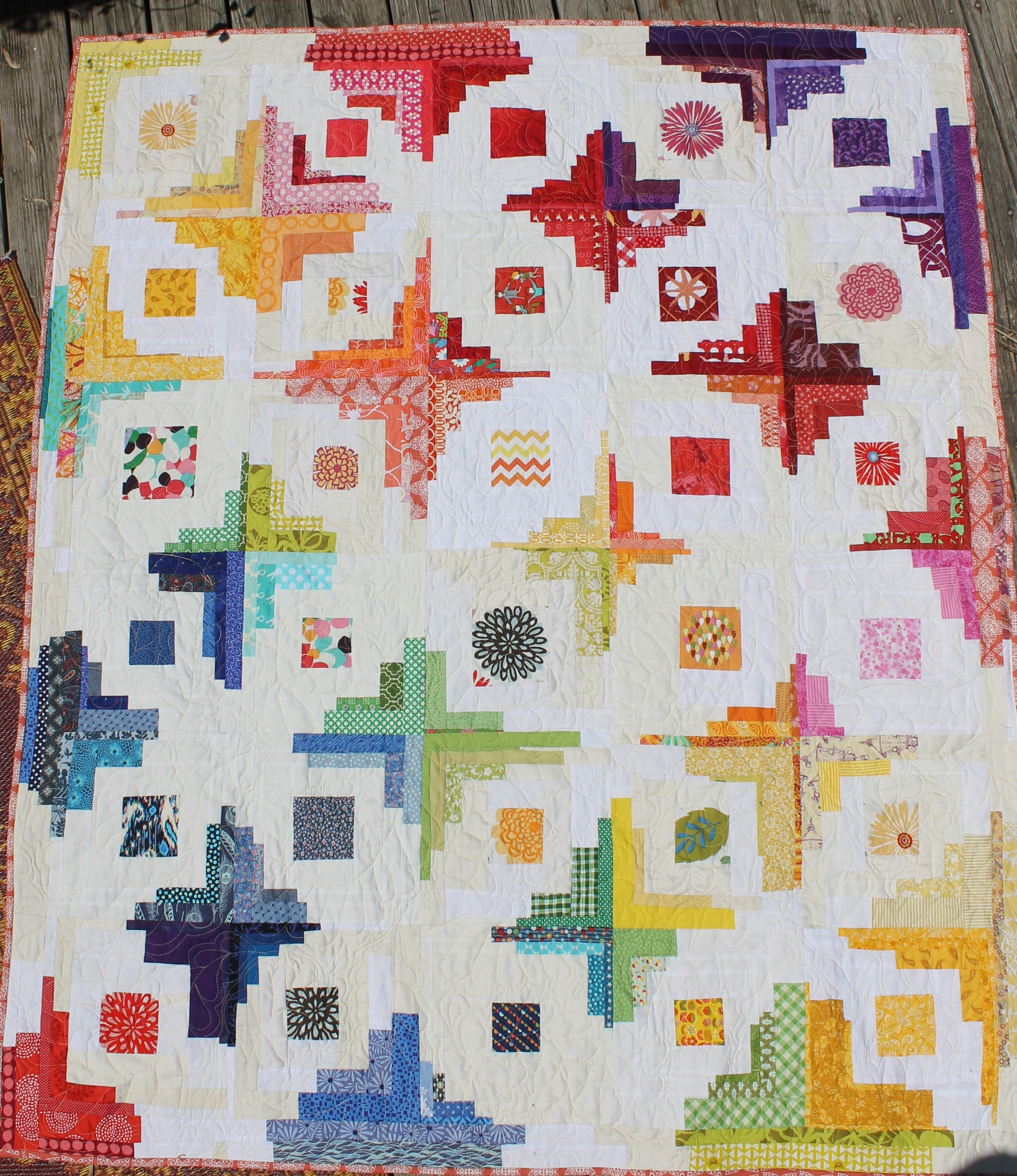 Converging Corners Rainbow Quilt by WaterPenny
